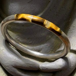 Sterling Silver and Tiger Eye Bangle